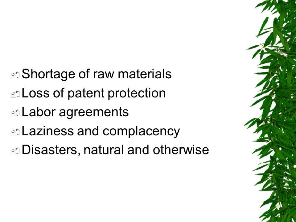 Shortage of raw materials