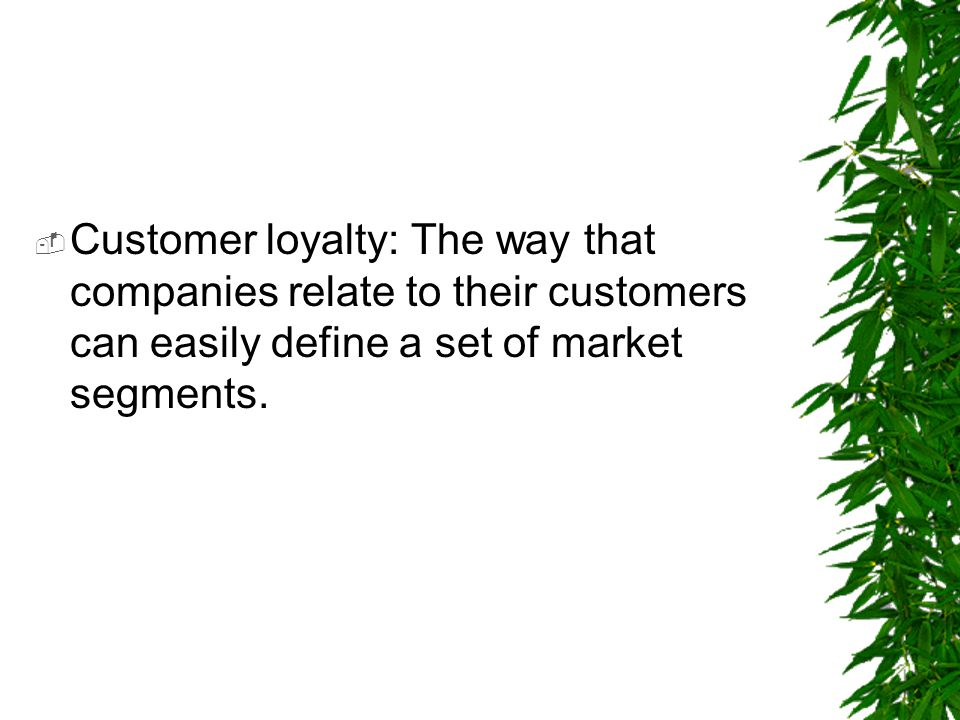 Customer loyalty: The way that companies relate to their customers can easily define a set of market segments.