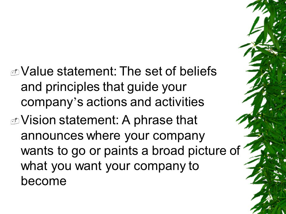 Value statement: The set of beliefs and principles that guide your company's actions and activities