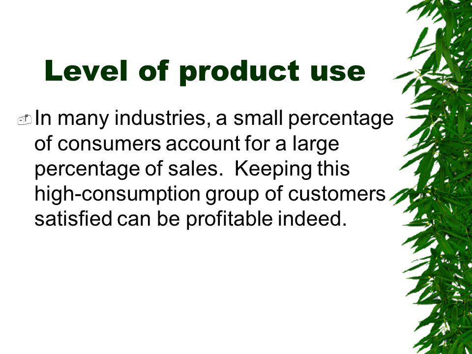 Level of product use