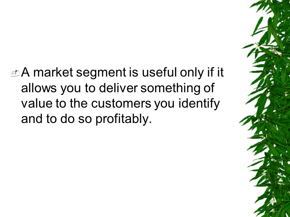 A market segment is useful only if it allows you to deliver something of value to the customers you identify and to do so profitably.