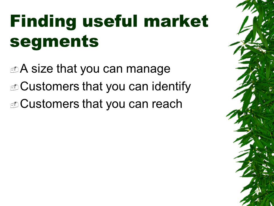 Finding useful market segments