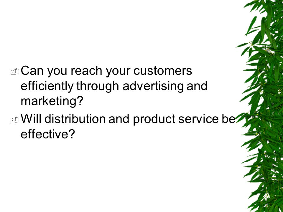 Can you reach your customers efficiently through advertising and marketing