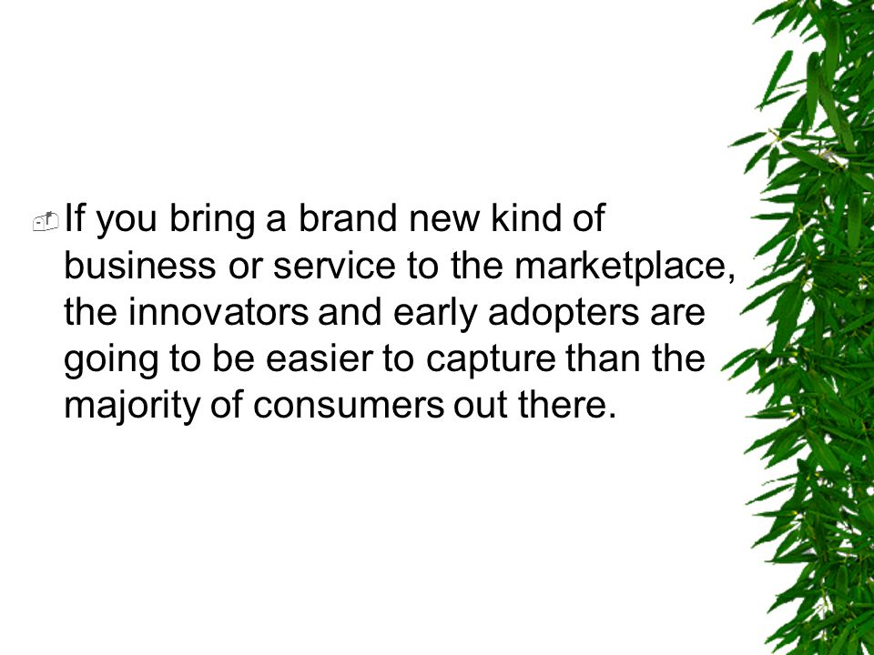 If you bring a brand new kind of business or service to the marketplace, the innovators and early adopters are going to be easier to capture than the majority of consumers out there.