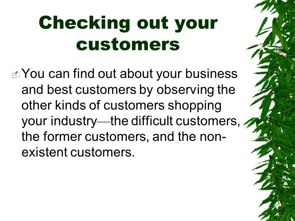 Checking out your customers