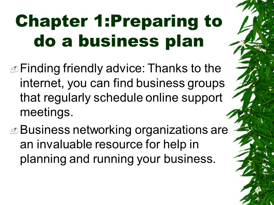 Chapter 1:Preparing to do a business plan