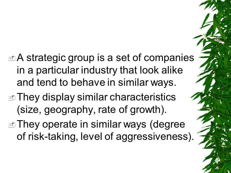 A strategic group is a set of companies in a particular industry that look alike and tend to behave in similar ways.
