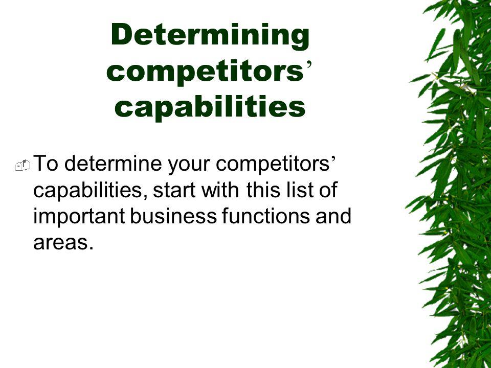 Determining competitors' capabilities