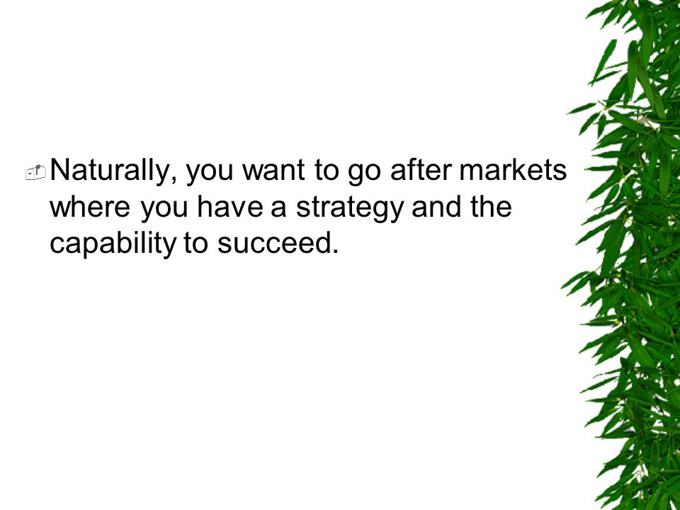 Naturally, you want to go after markets where you have a strategy and the capability to succeed.