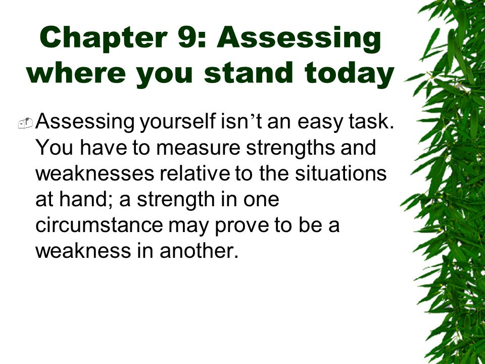 Chapter 9: Assessing where you stand today