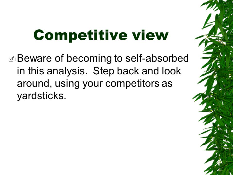 Competitive view Beware of becoming to self-absorbed in this analysis.