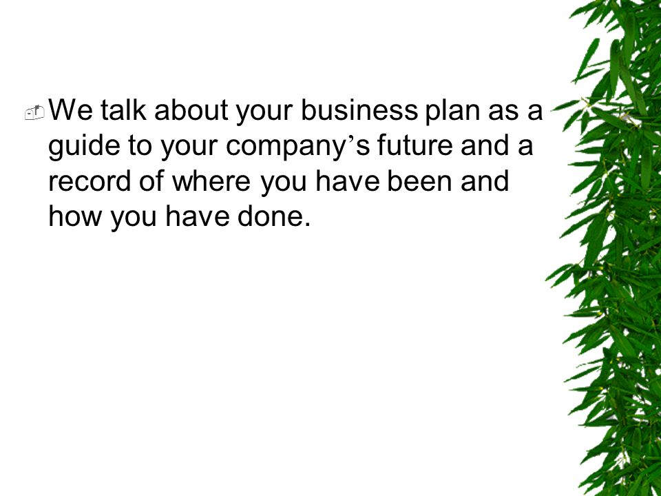 We talk about your business plan as a guide to your company's future and a record of where you have been and how you have done.