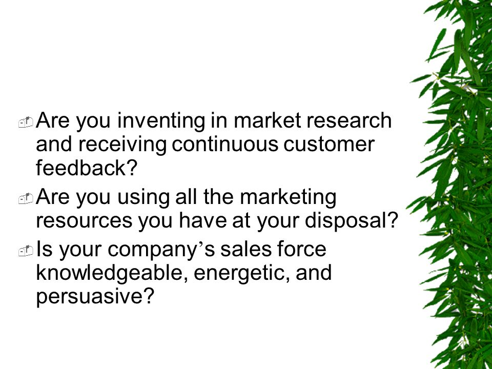 Are you inventing in market research and receiving continuous customer feedback