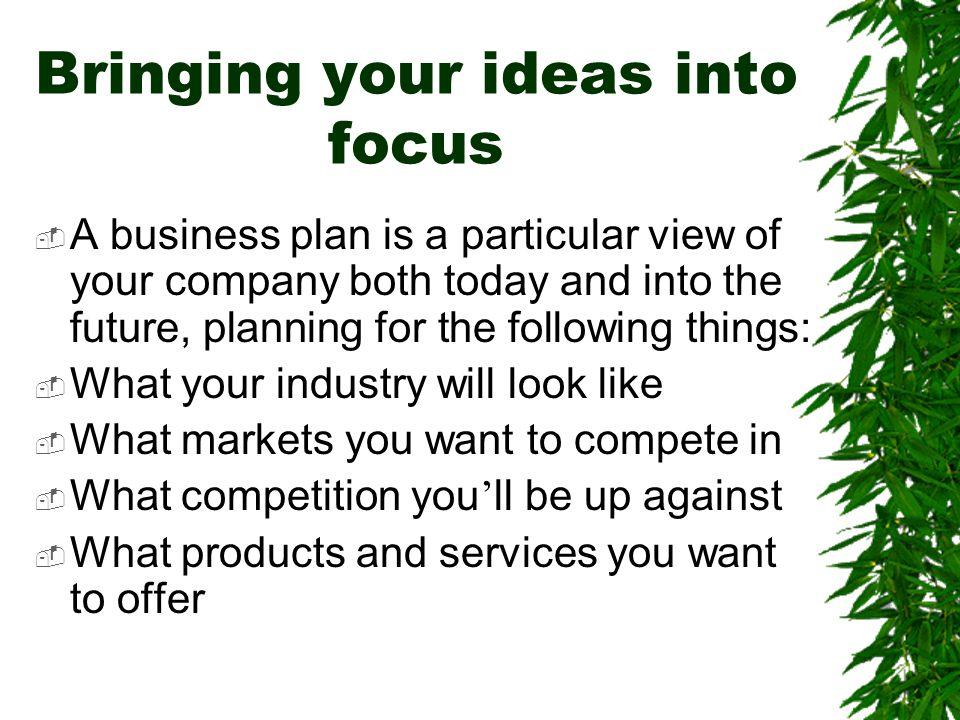 Bringing your ideas into focus