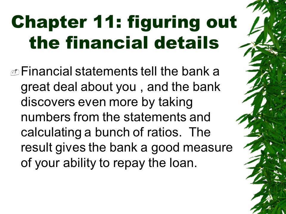 Chapter 11: figuring out the financial details