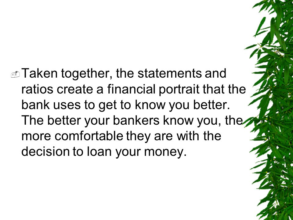 Taken together, the statements and ratios create a financial portrait that the bank uses to get to know you better.
