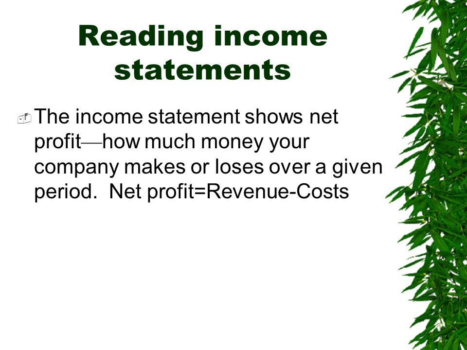 Reading income statements