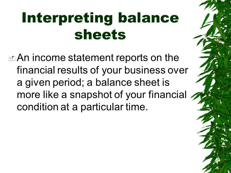 Interpreting balance sheets