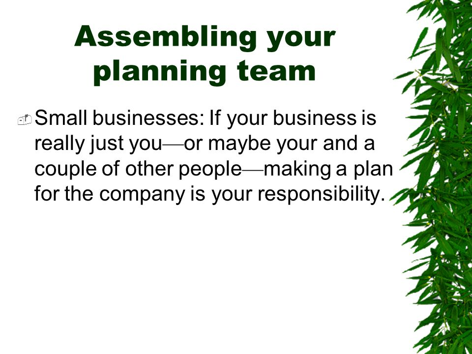 Assembling your planning team