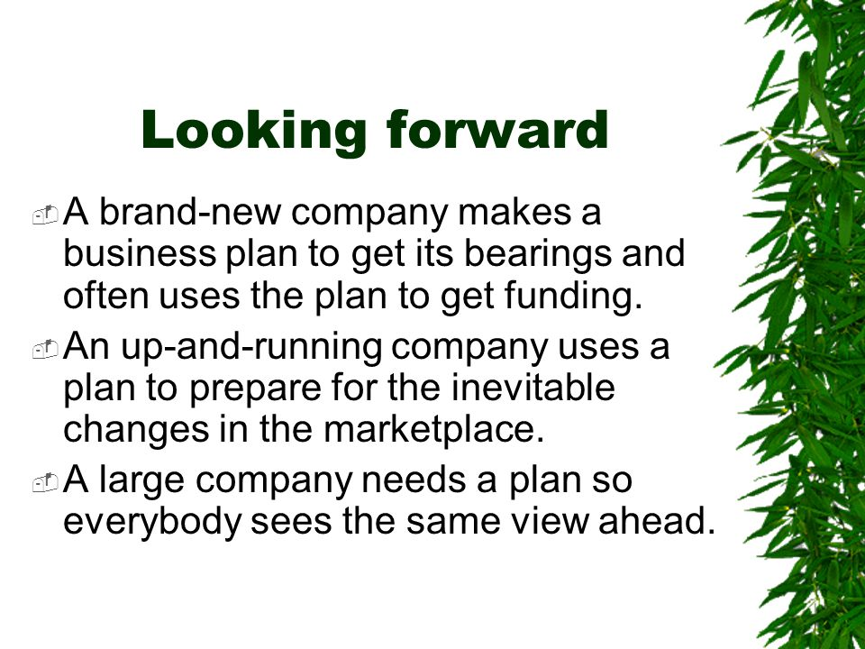 Looking forward A brand-new company makes a business plan to get its bearings and often uses the plan to get funding.