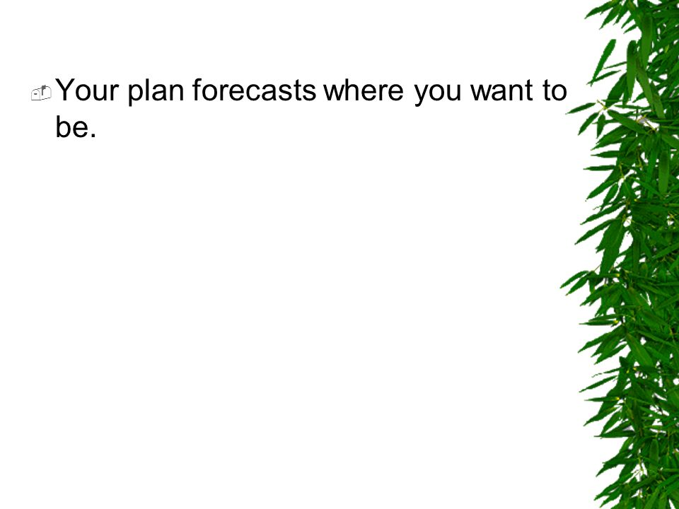 Your plan forecasts where you want to be.