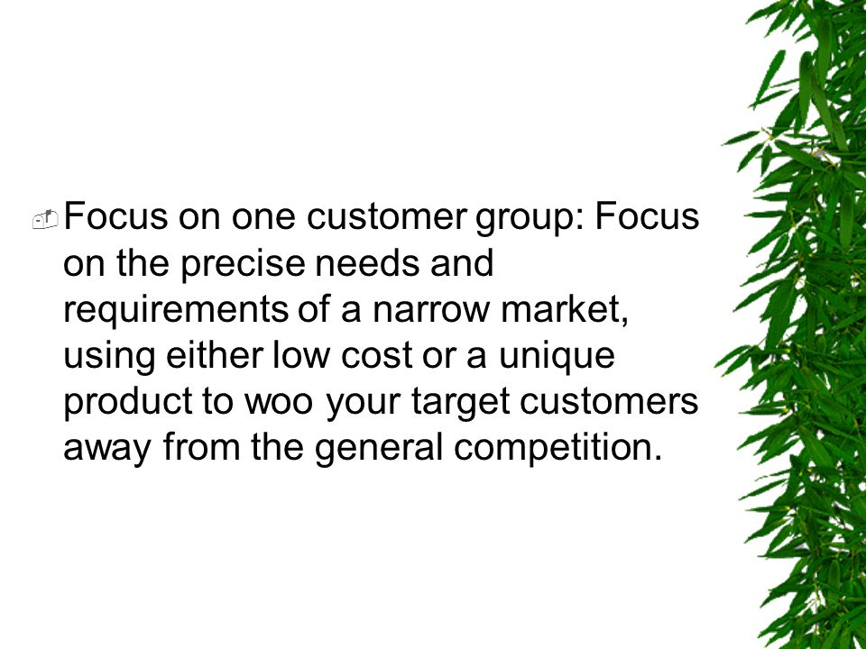 Focus on one customer group: Focus on the precise needs and requirements of a narrow market, using either low cost or a unique product to woo your target customers away from the general competition.
