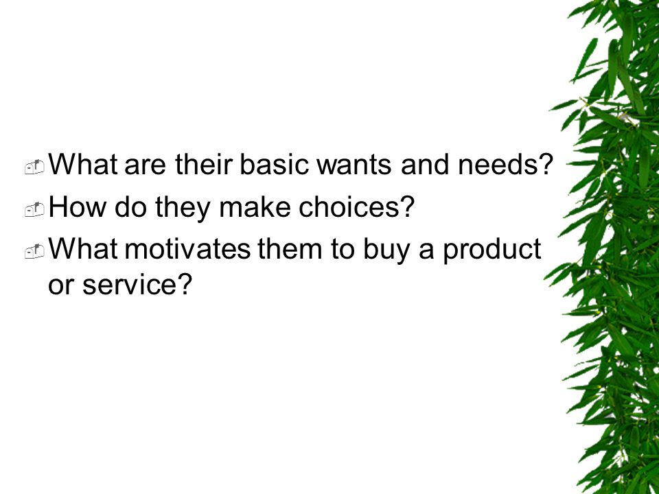 What are their basic wants and needs