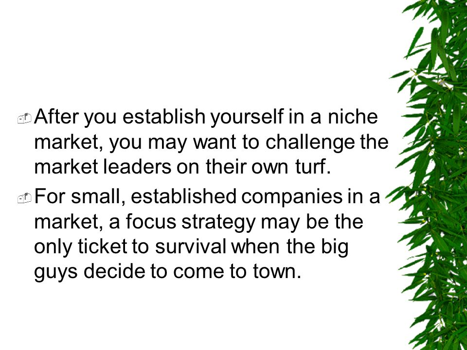 After you establish yourself in a niche market, you may want to challenge the market leaders on their own turf.