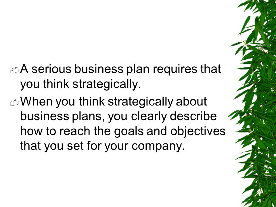 A serious business plan requires that you think strategically.