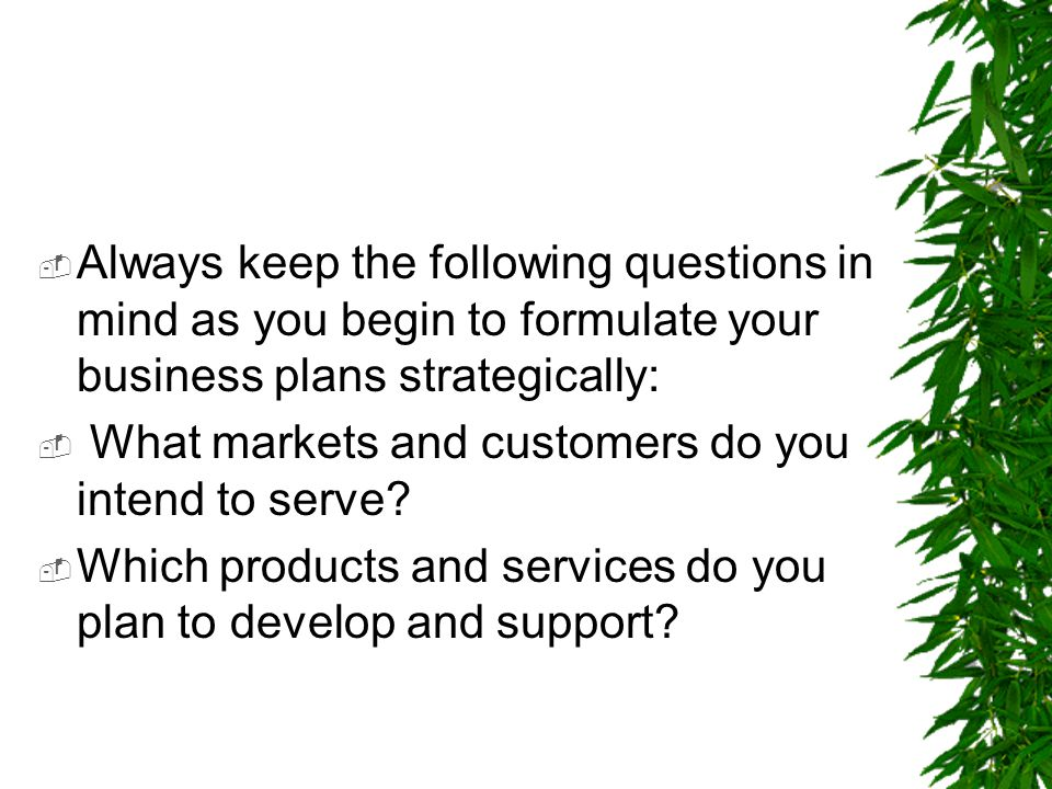 Always keep the following questions in mind as you begin to formulate your business plans strategically: