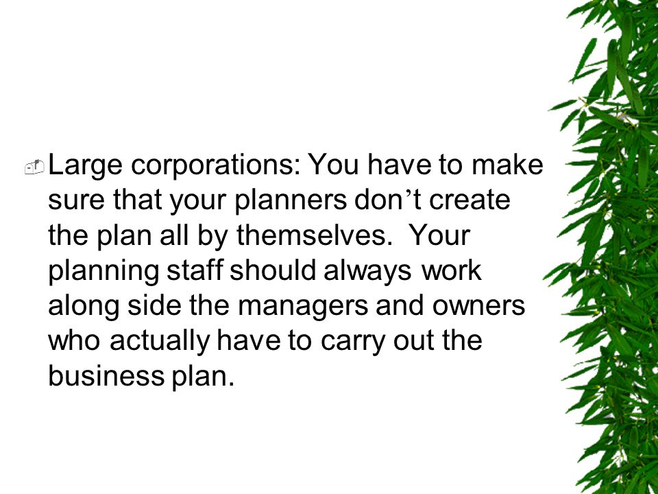 Large corporations: You have to make sure that your planners don't create the plan all by themselves.