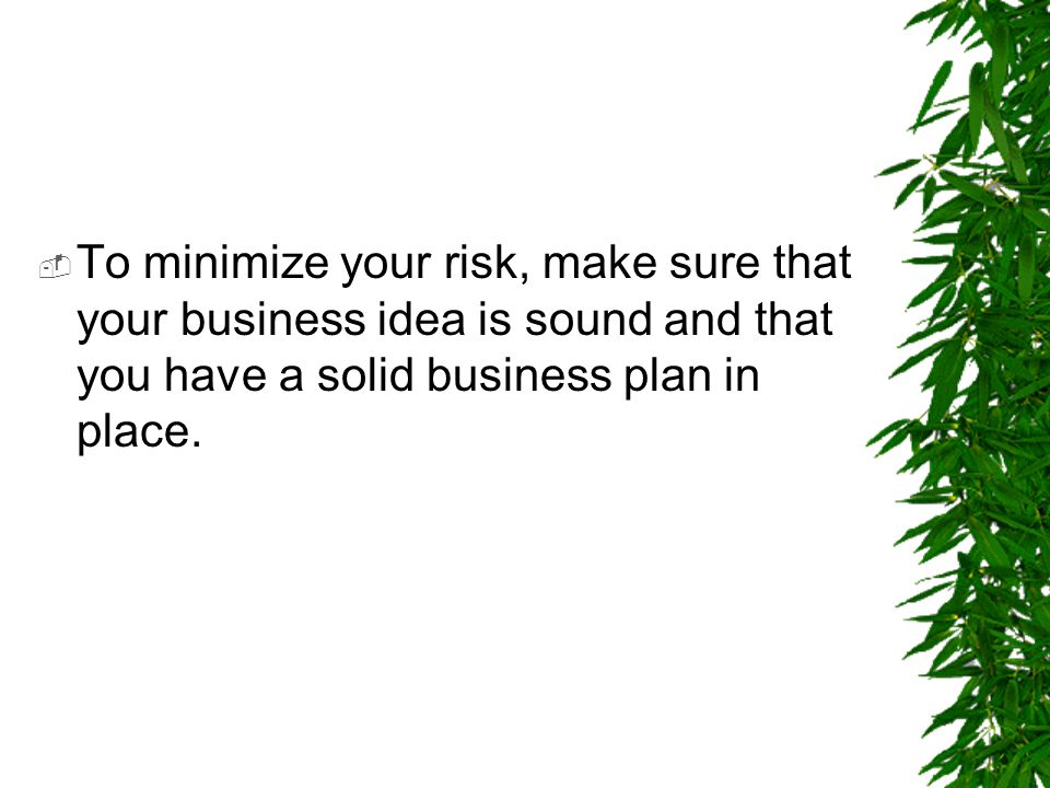 To minimize your risk, make sure that your business idea is sound and that you have a solid business plan in place.