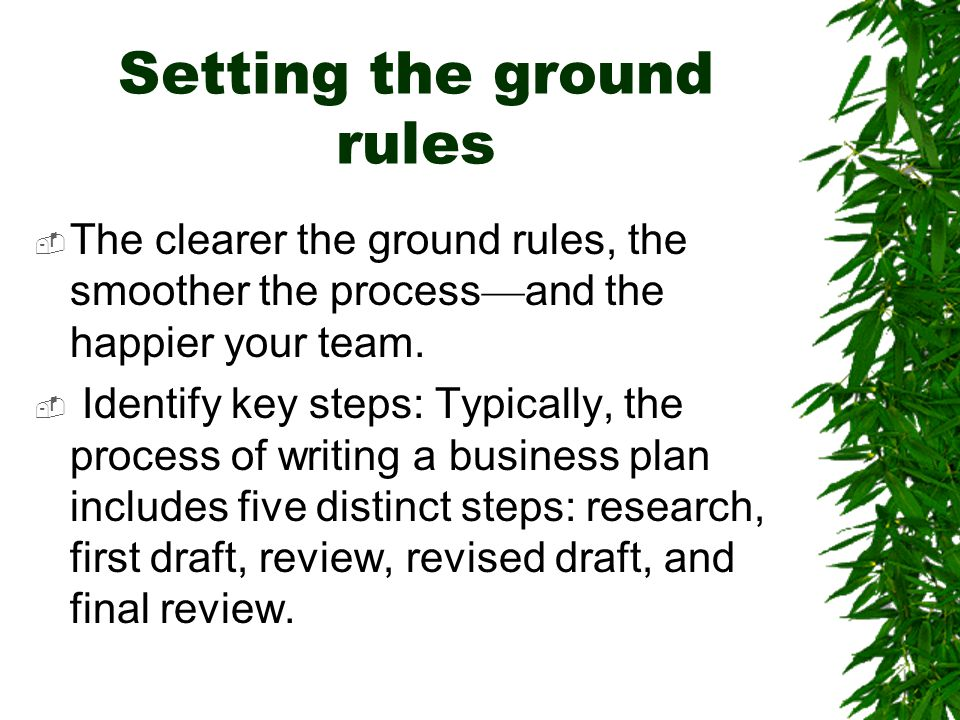Setting the ground rules