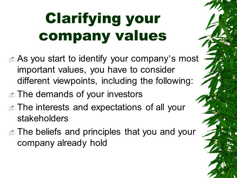 Clarifying your company values
