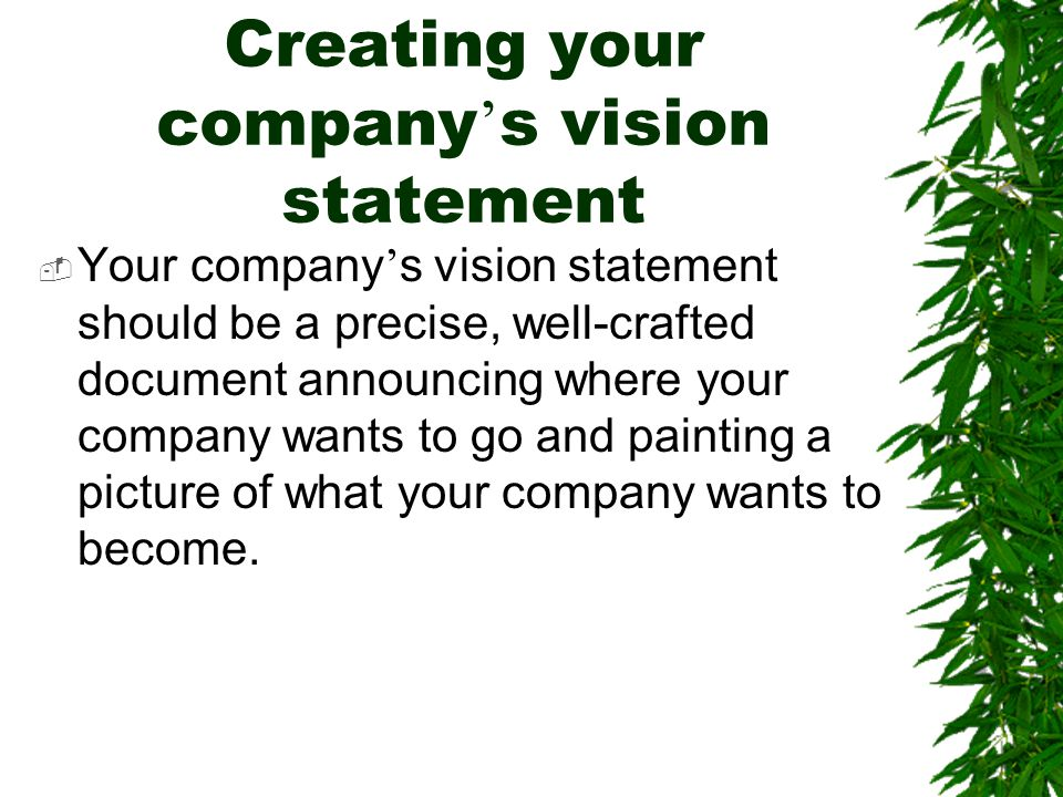 Creating your company's vision statement