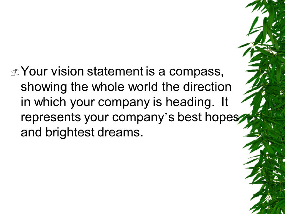 Your vision statement is a compass, showing the whole world the direction in which your company is heading.
