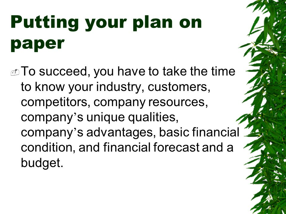 Putting your plan on paper