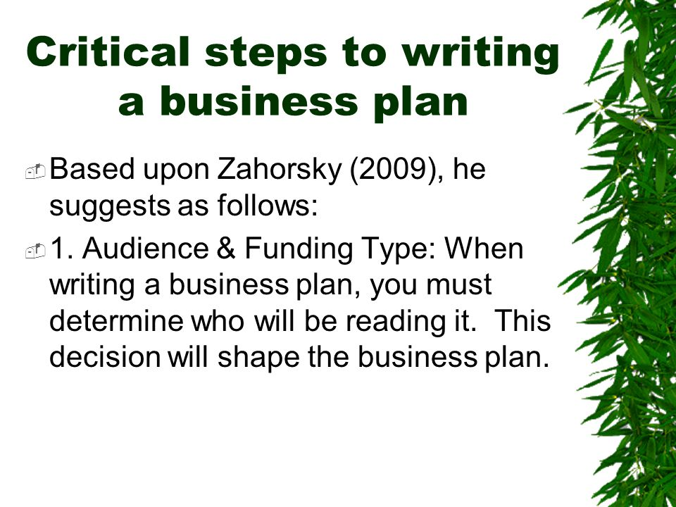 Critical steps to writing a business plan