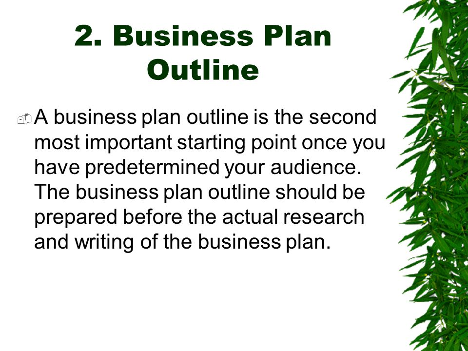 2. Business Plan Outline