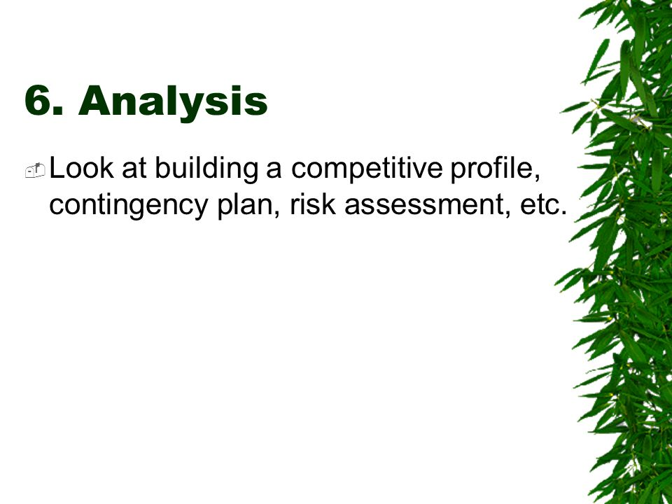 6. Analysis Look at building a competitive profile, contingency plan, risk assessment, etc.