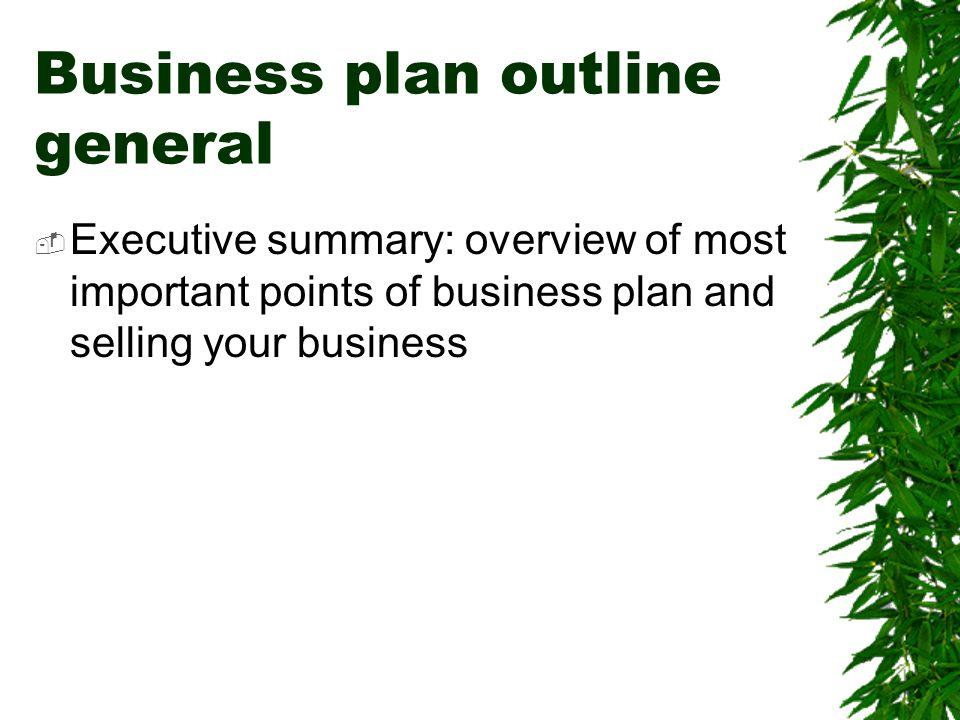 Business plan outline general