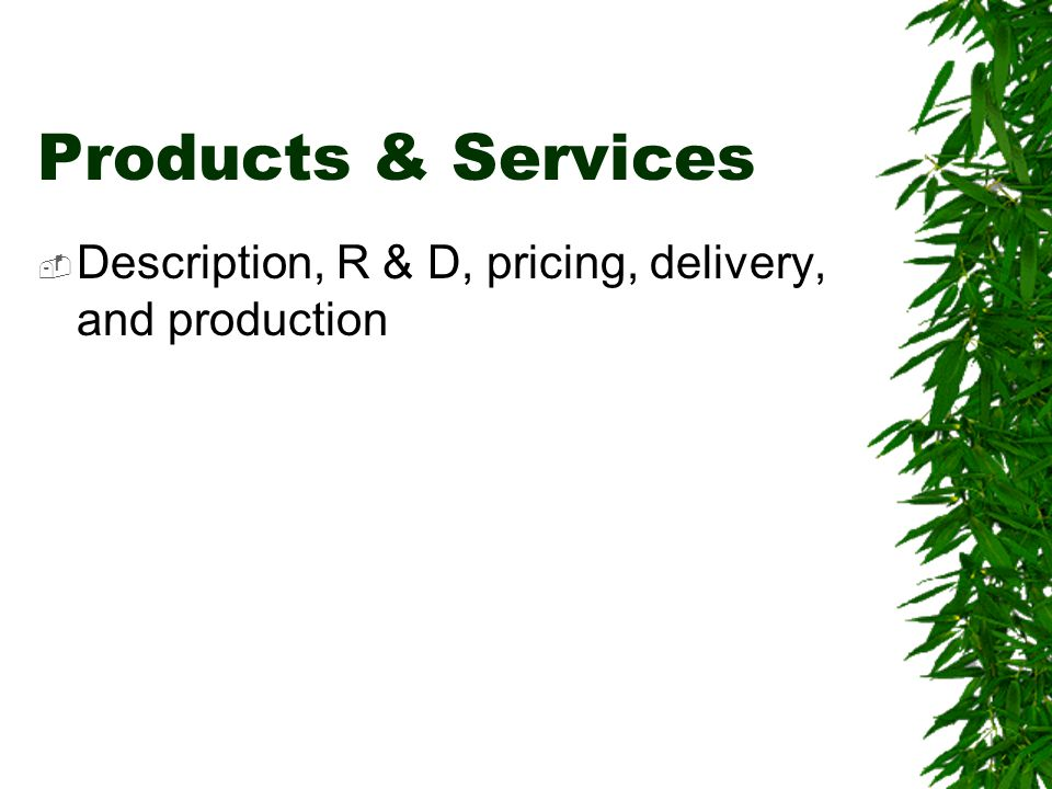 Products & Services Description, R & D, pricing, delivery, and production