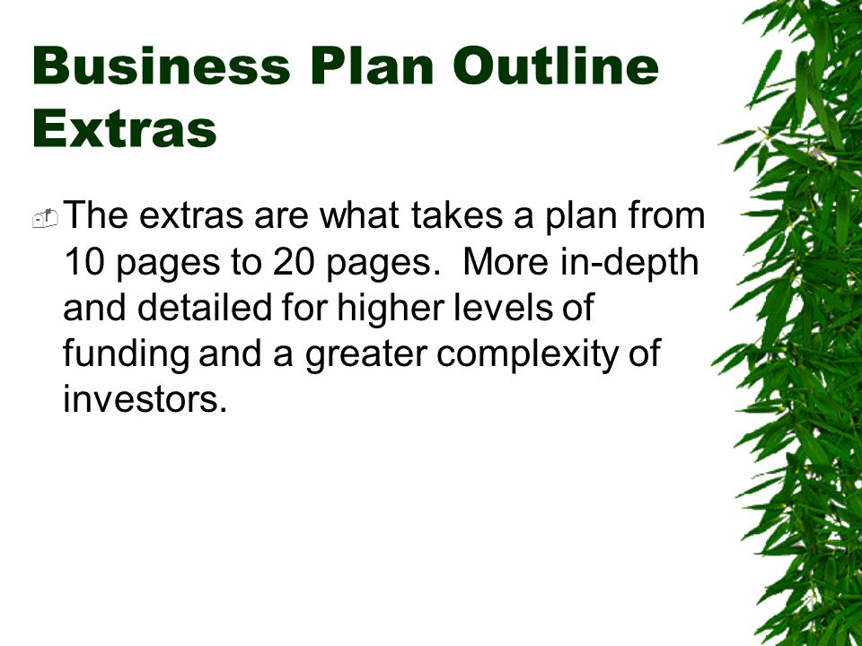 Business Plan Outline Extras