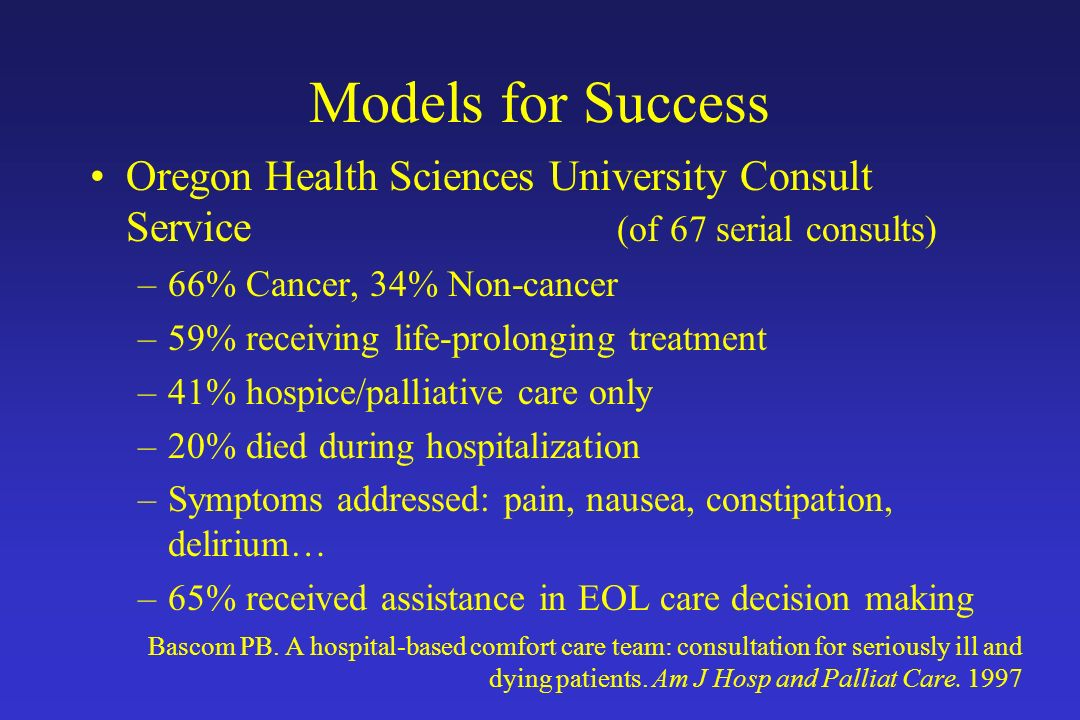 Models for Success Oregon Health Sciences University Consult Service (of 67 serial consults)