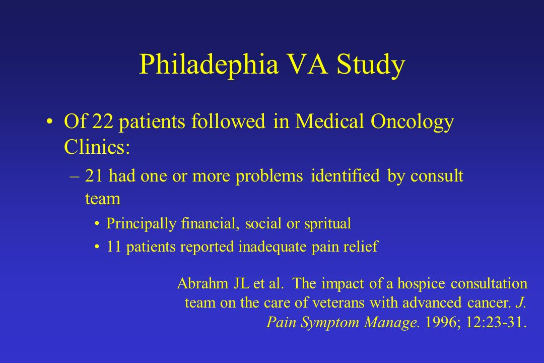 Philadephia VA Study Of 22 patients followed in Medical Oncology Clinics: 21 had one or more problems identified by consult team.