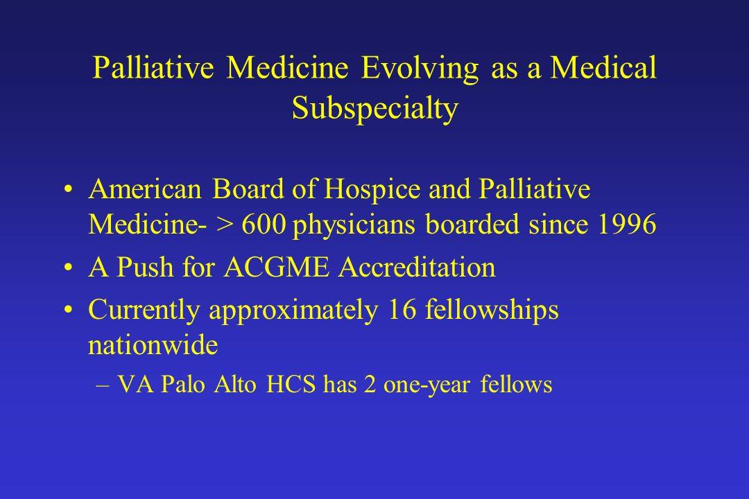 Palliative Medicine Evolving as a Medical Subspecialty