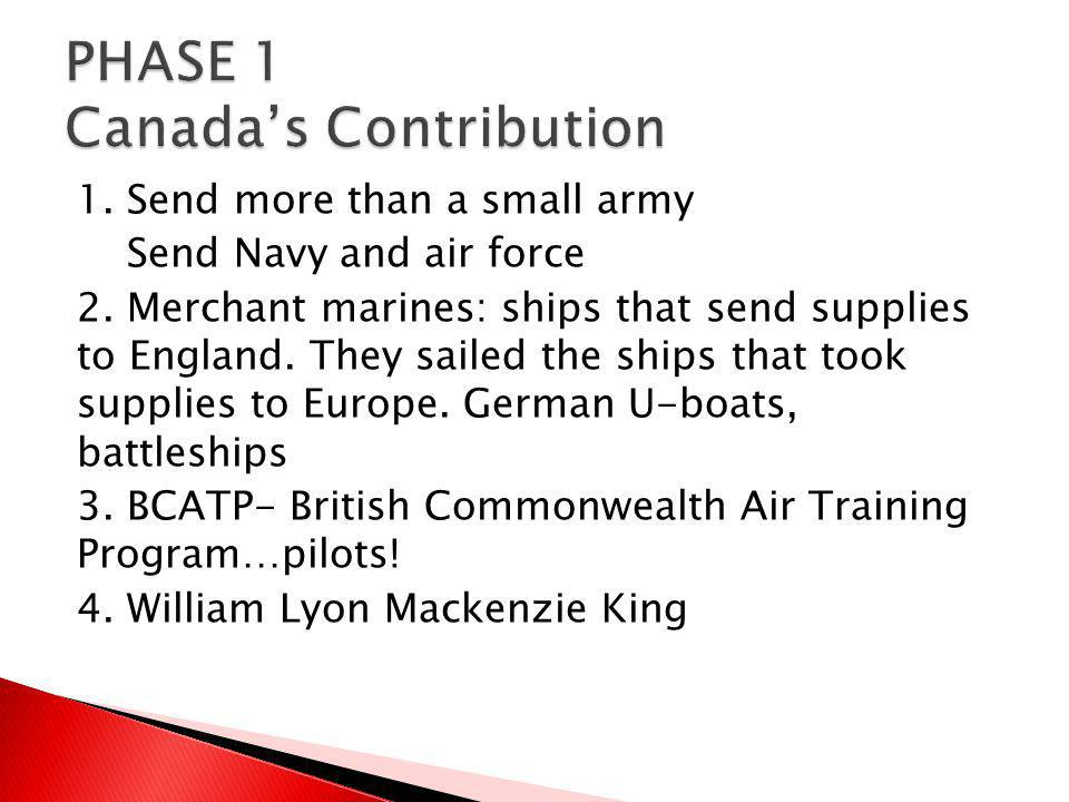 PHASE 1 Canada's Contribution