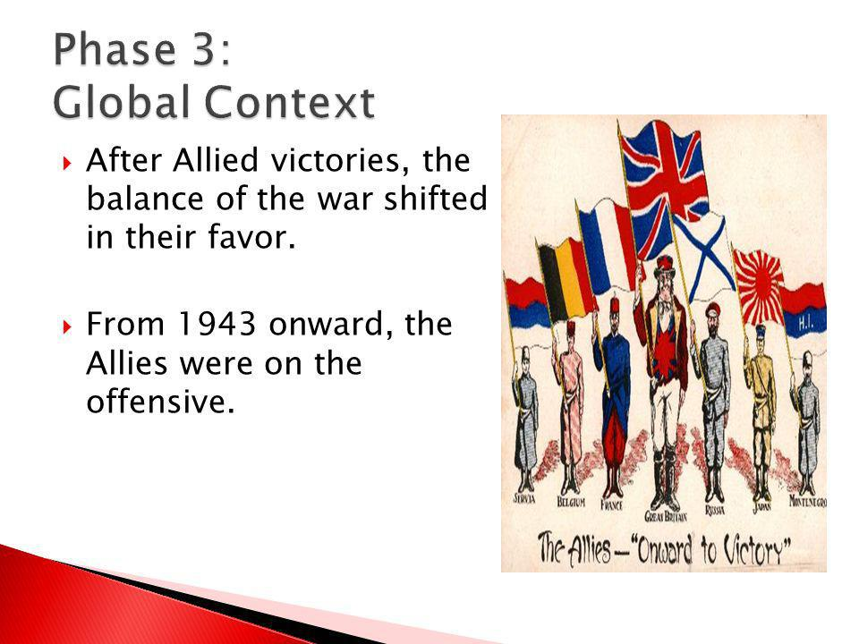Phase 3: Global Context After Allied victories, the balance of the war shifted in their favor.