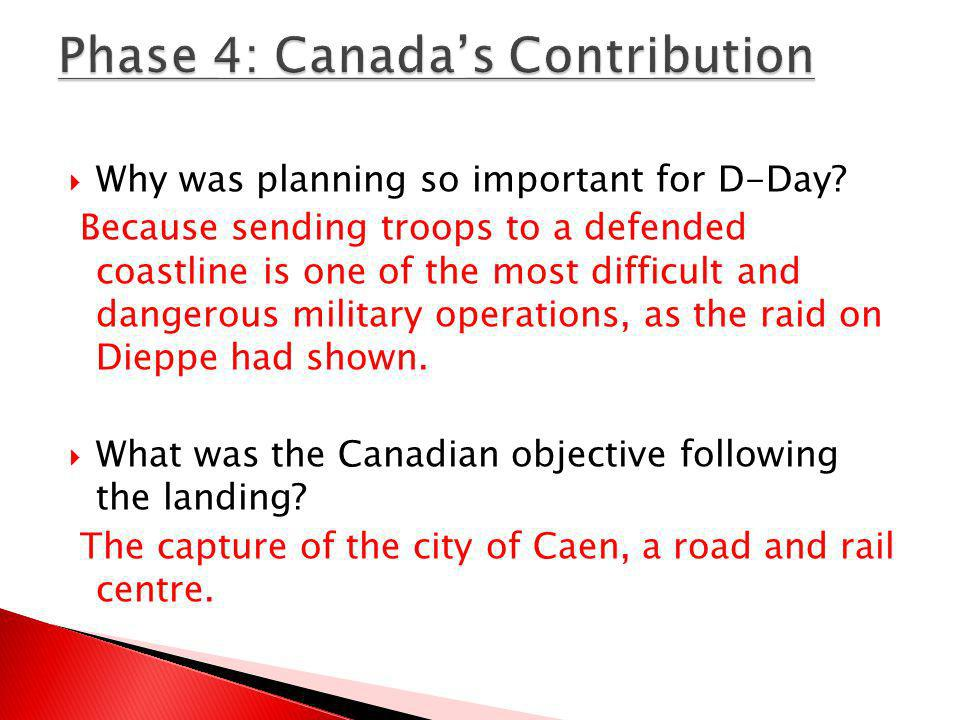 Phase 4: Canada's Contribution