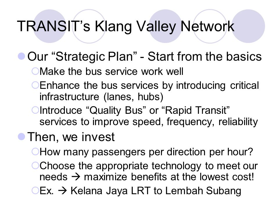 TRANSIT's Klang Valley Network